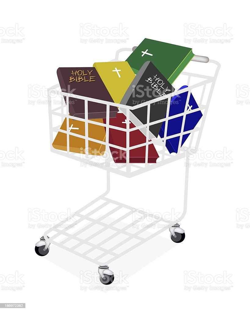 Colorful Holy Bibles in A Shopping Cart vector art illustration