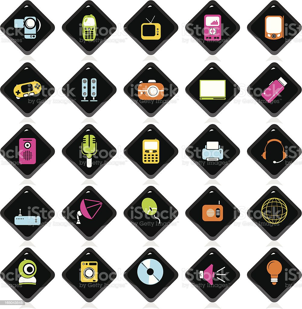 Colorful Icons: Electronic royalty-free stock vector art