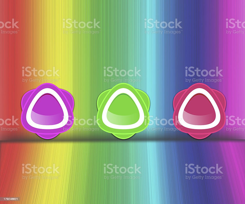 Colorful icons on rainbow background royalty-free stock vector art