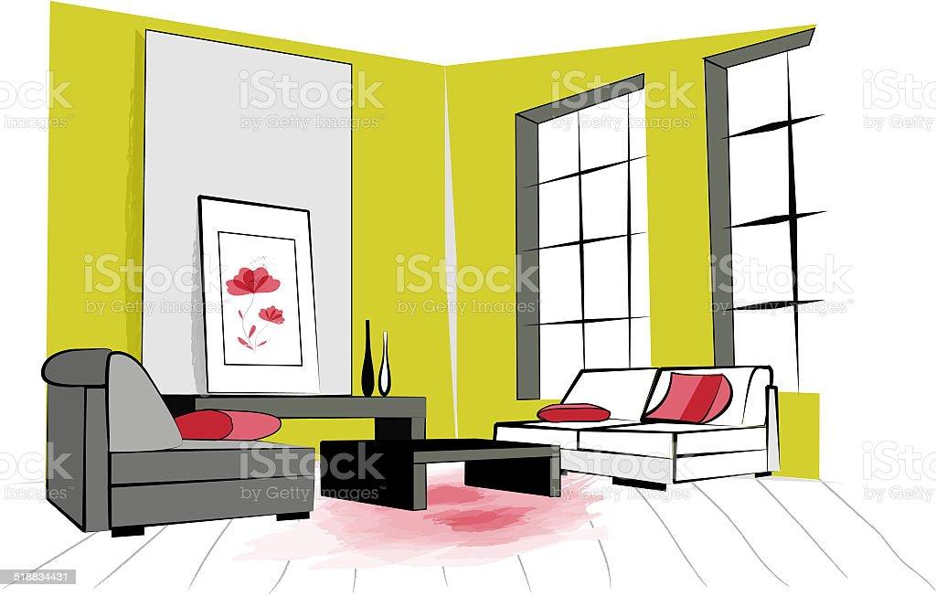 Colorful Illustration Of A Retro Living Room Interior Design Royalty Free Stock Vector Art
