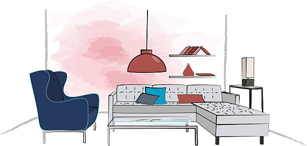 Colorful Illustration Of A Retro Living Room Interior Design Vector Art