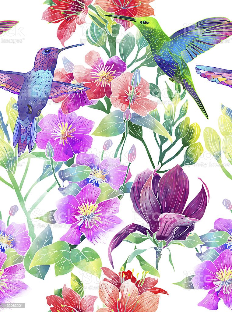 Colorful illustration of flowers with hummingbirds royalty-free stock vector art