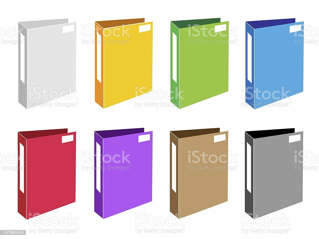 Colorful Illustration Set of Office Folder Icons royalty-free stock vector art
