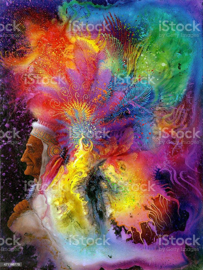 colorful indian headdress vector art illustration
