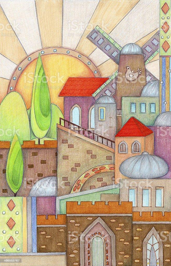 Colorful Jerusalem vector art illustration