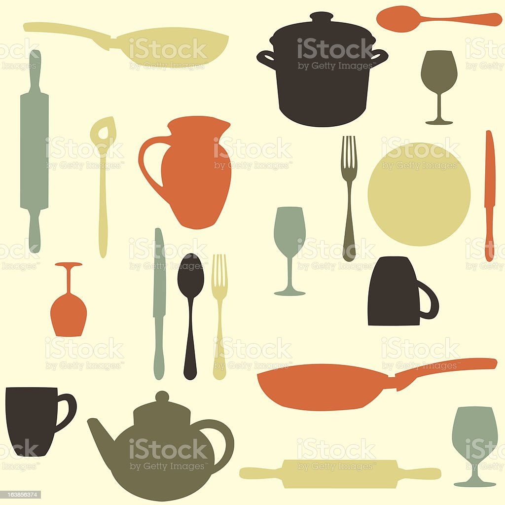 colorful kitchen pattern royalty-free stock vector art