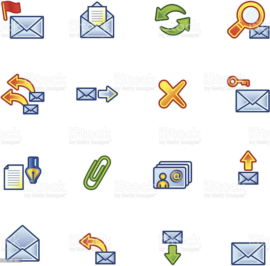 colorful mail icons royalty-free stock vector art