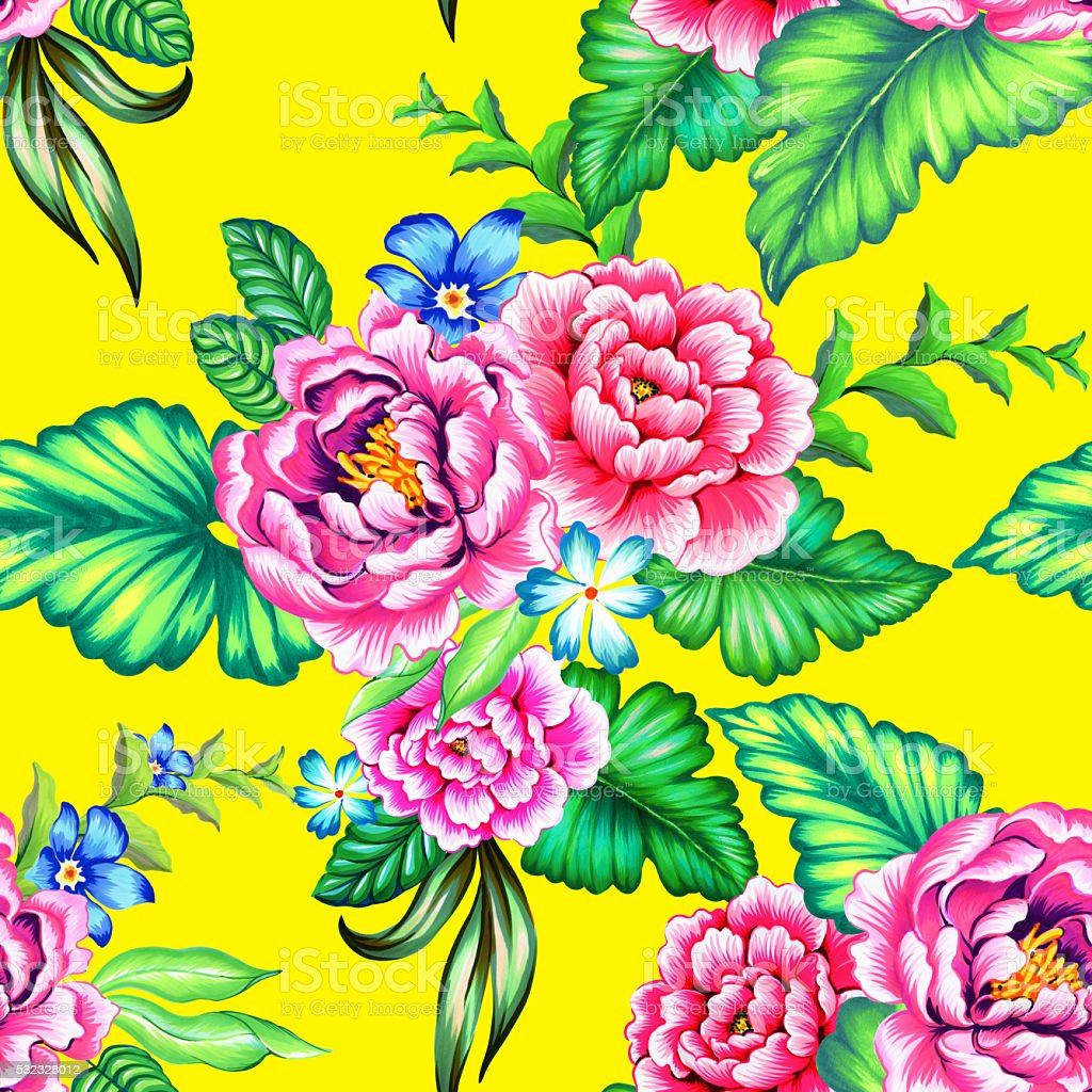 Colorful Mexican floral pattern vector art illustration