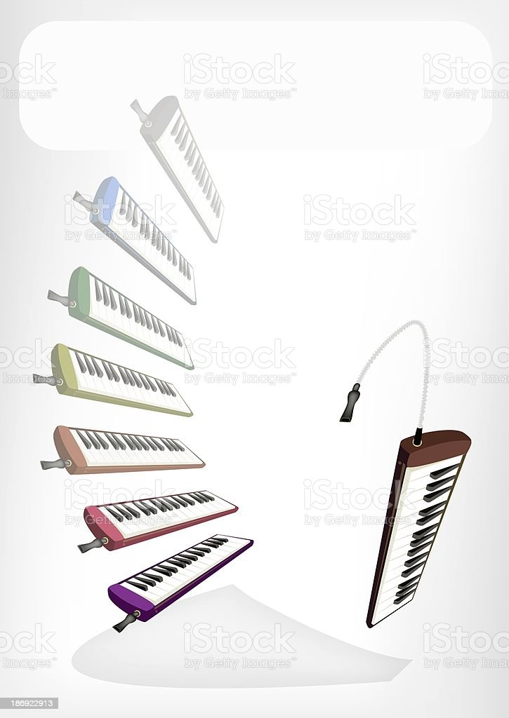 Colorful Musical Melodica with A White Banner royalty-free stock vector art