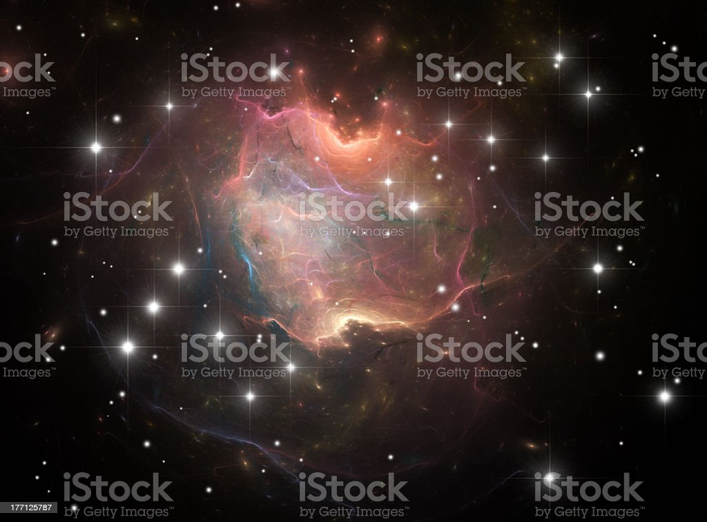 Colorful Nebula in space with stars around it royalty-free stock vector art