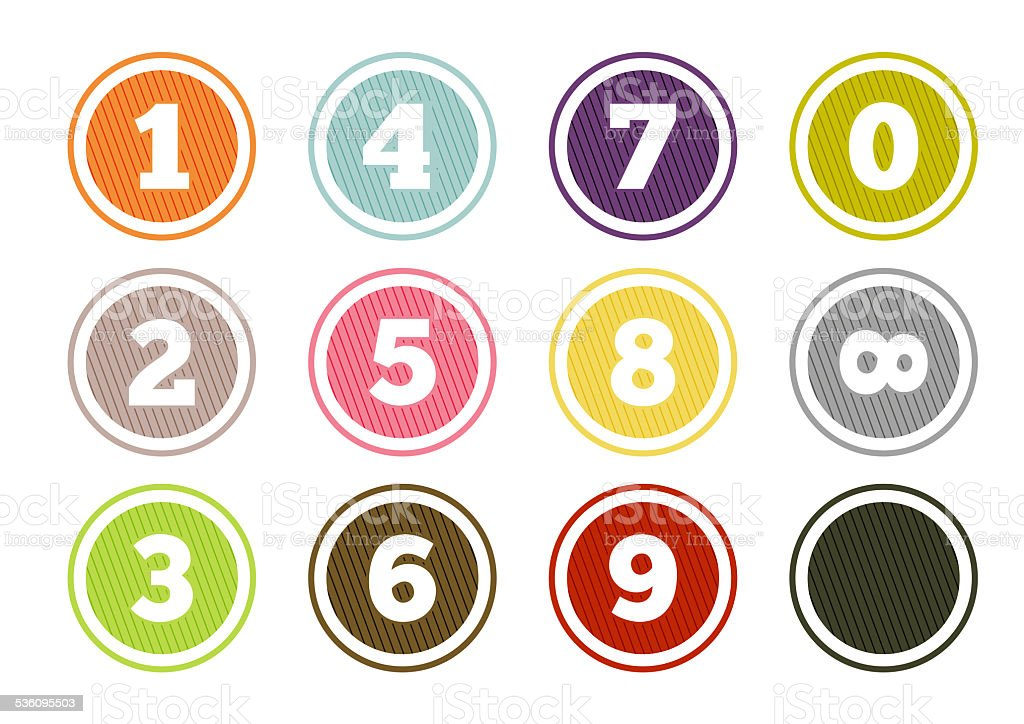 Colorful number buttons set vector art illustration