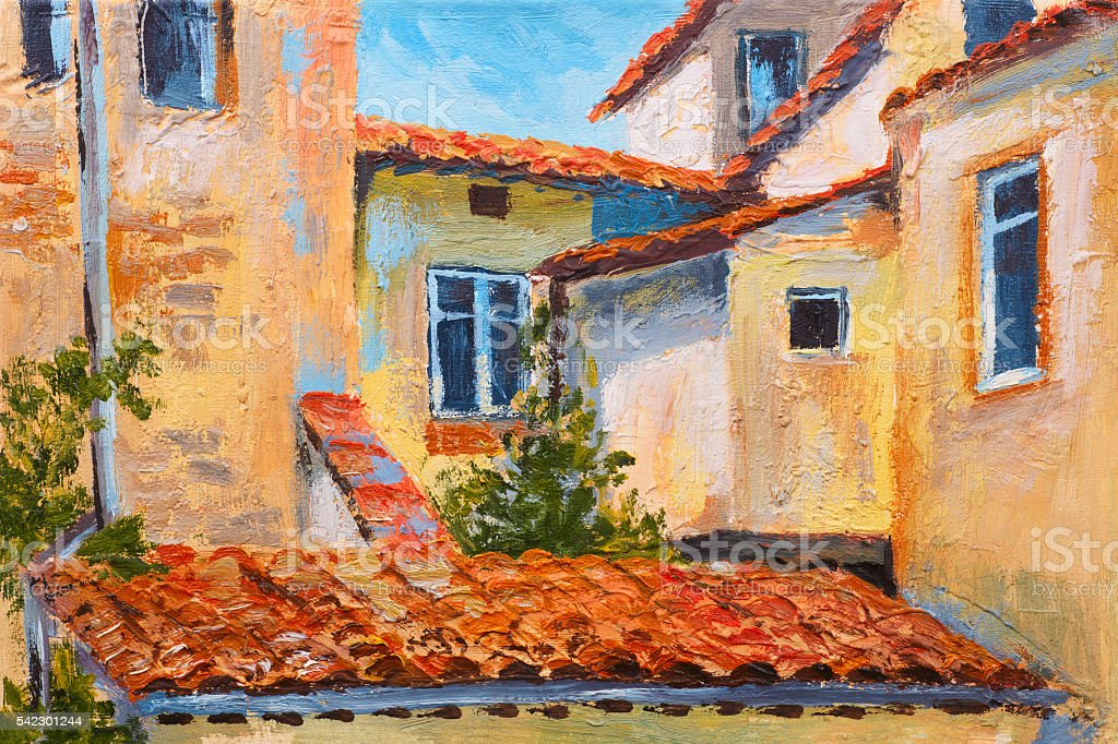 colorful oil painting - roofs of houses, European street, art...