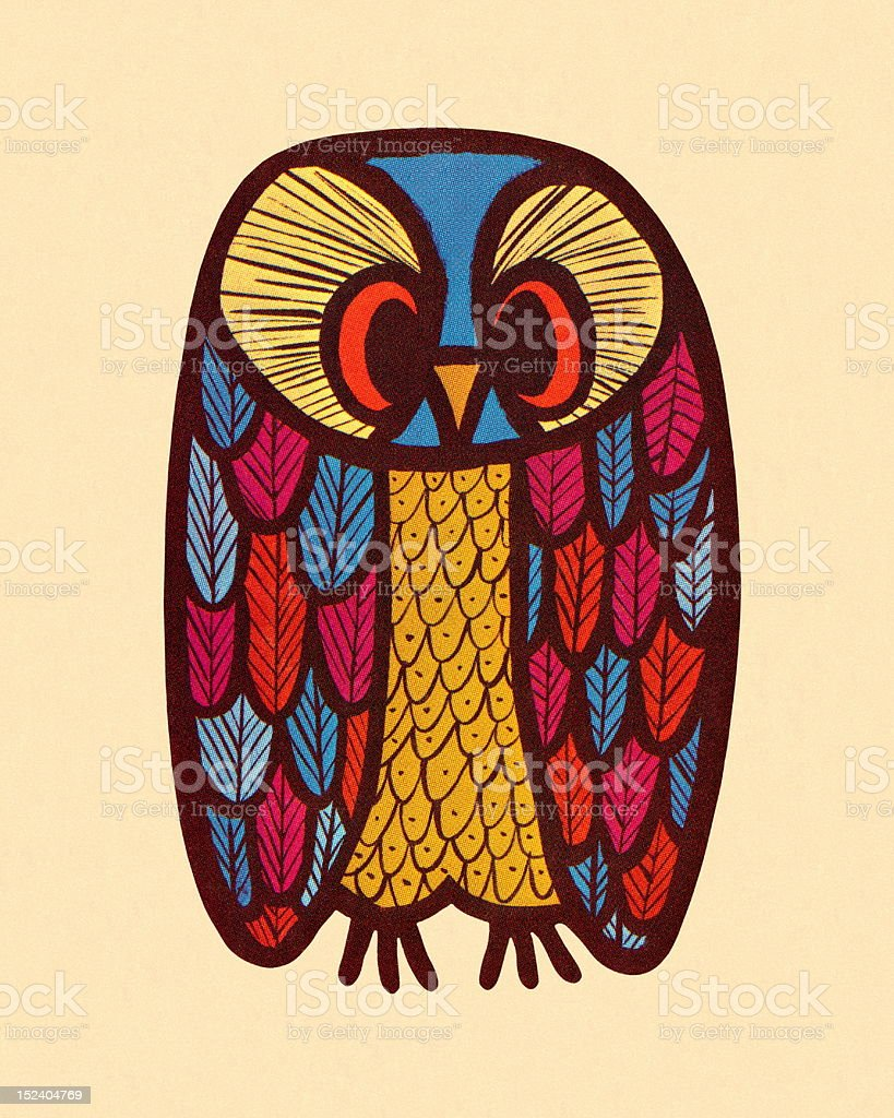 Colorful Owl vector art illustration