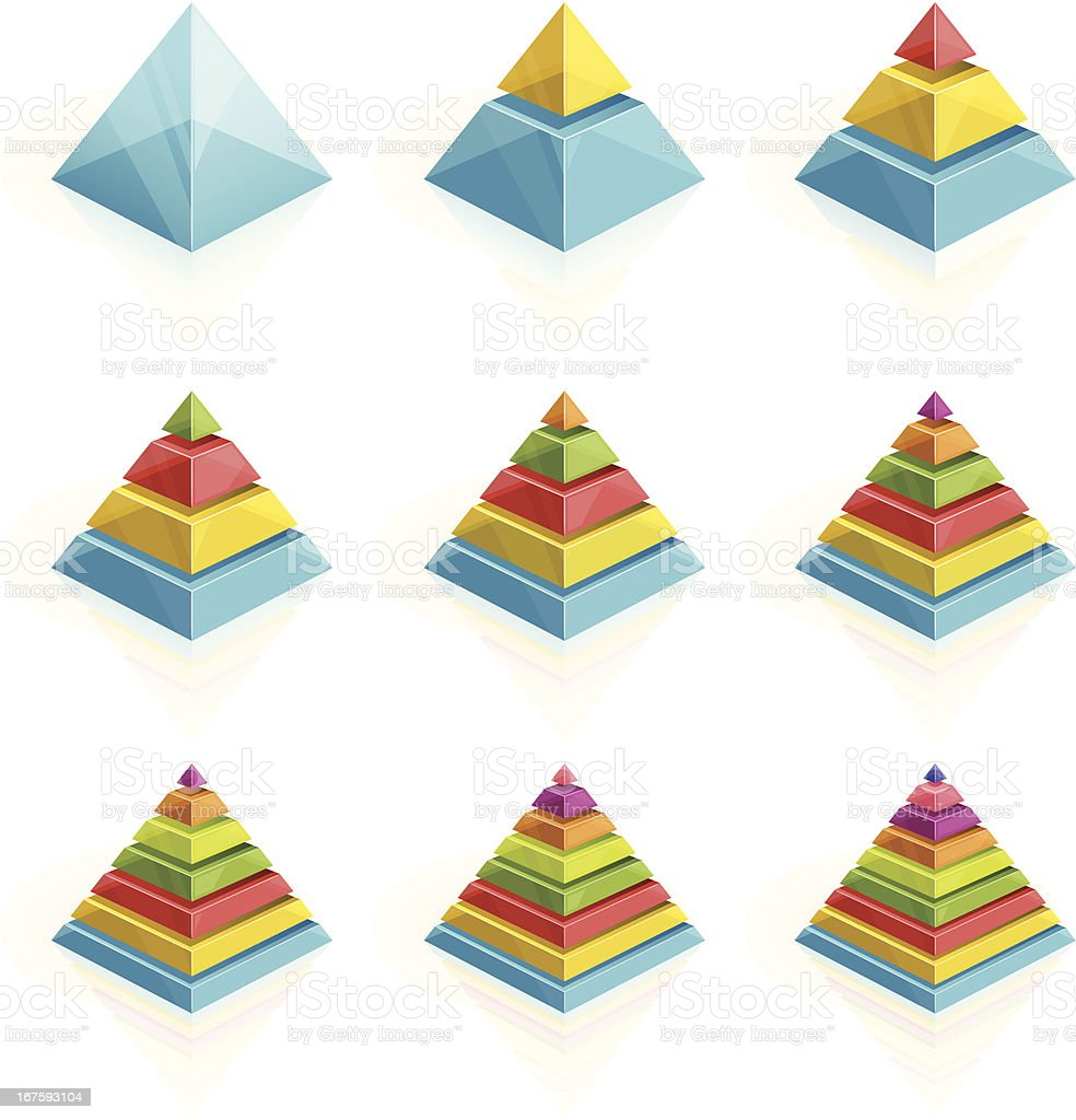 Colorful pyramids divided into two to nine layers vector art illustration