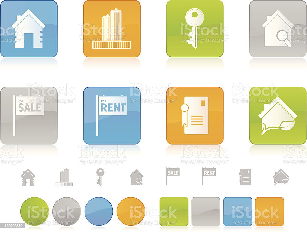 Colorful Real Estate Icons vector art illustration