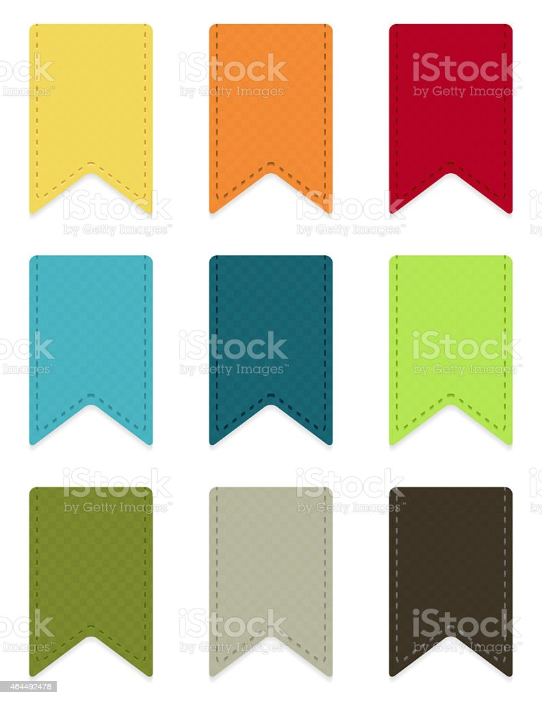 9 colorful ribbons collection vector art illustration