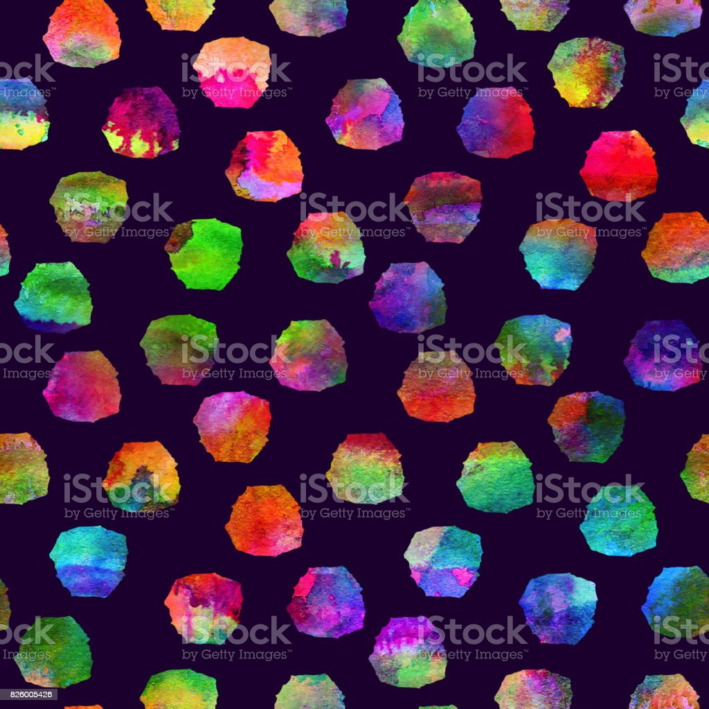 colorful seamless pattern with brush blots and spots. Rainbow color on violet background. Hand painted grange texture. Ink geometric elements. Fashion modern style. school and teen vector art illustration