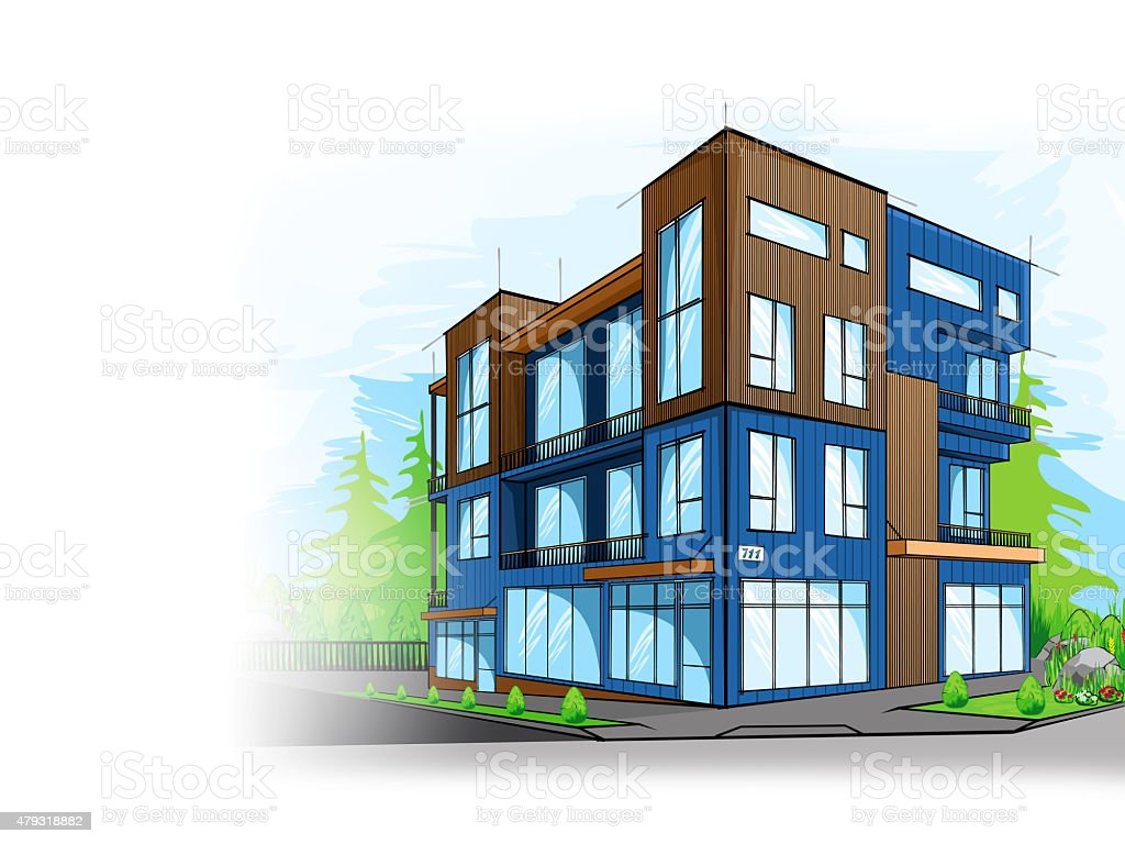 Colorful Sketch of a modern condo vector art illustration