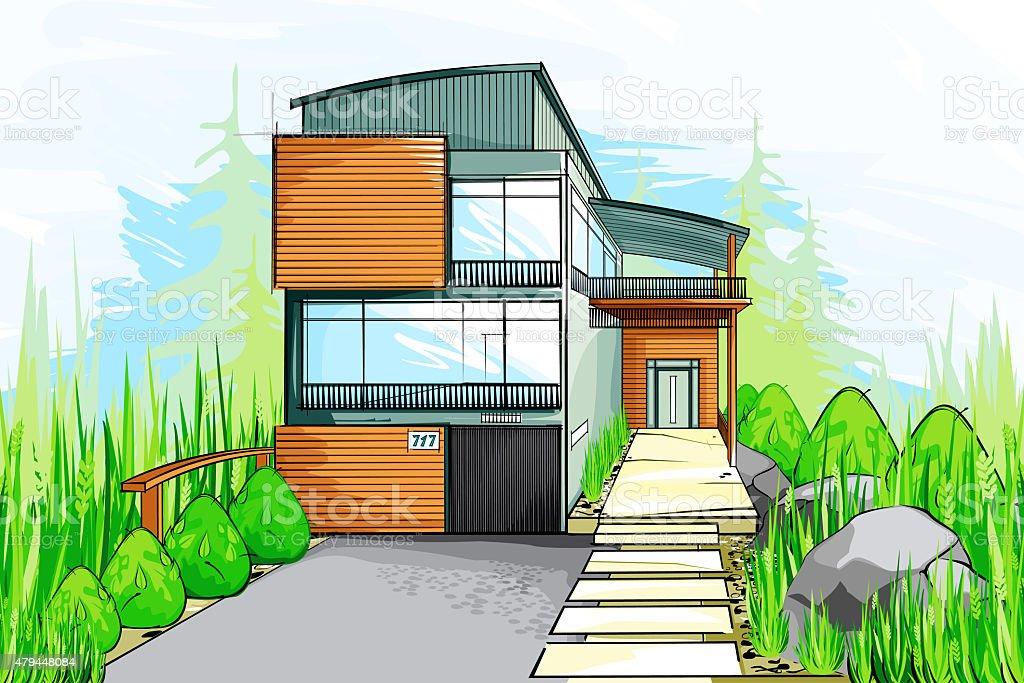 Colorido desenho de uma casa moderna vetor e ilustra o for Disegno di una casa