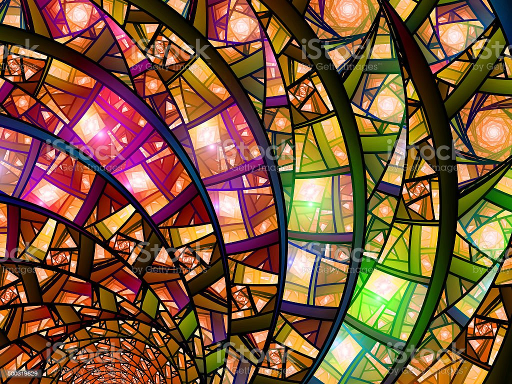 Colorful stained-glass vector art illustration