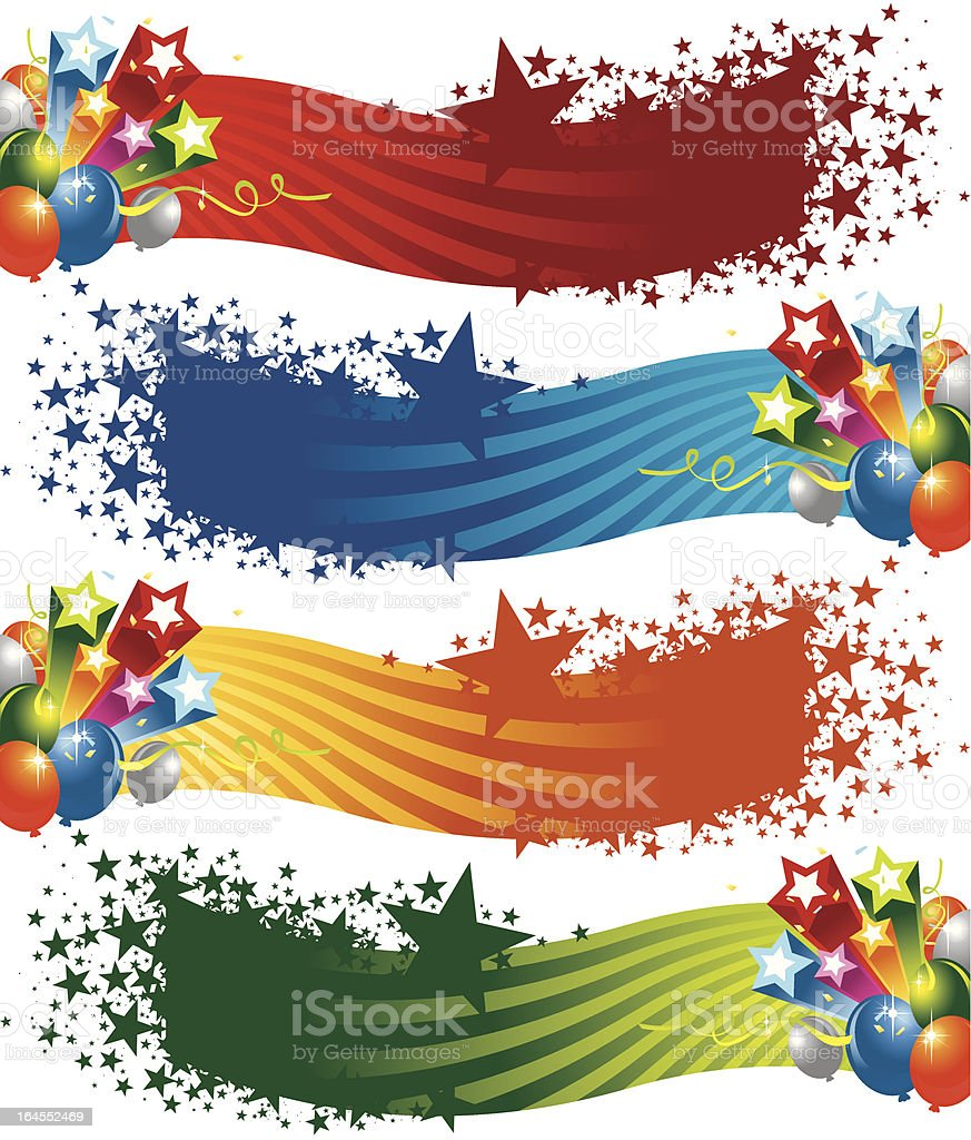 Colorful Star and Balloon Banners royalty-free stock vector art