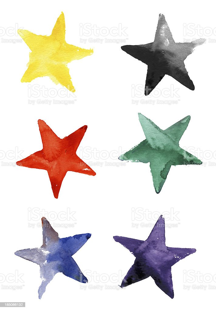 Colorful Stars Watercolor on Paper (Clipping Path) vector art illustration