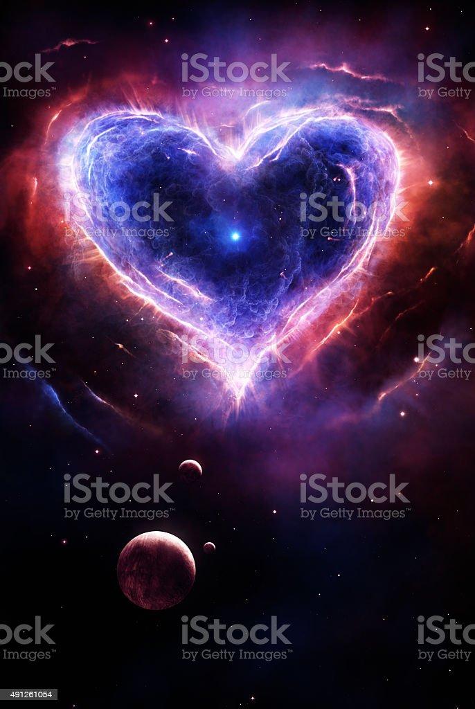 Colorful supernova heart vector art illustration