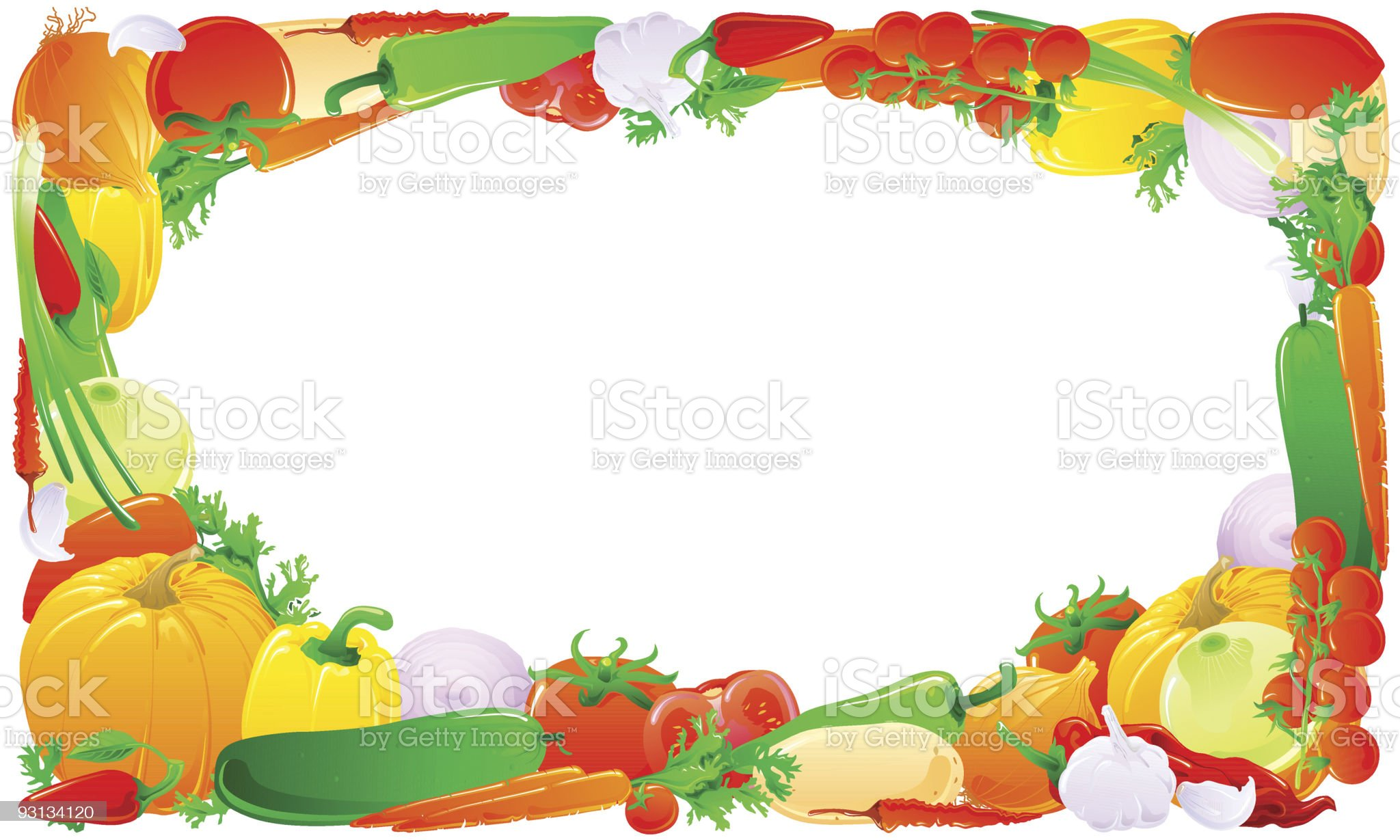 Colorful vegetable frame royalty-free stock vector art