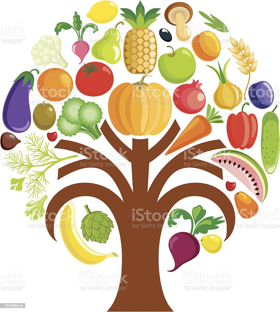 Colorful vegetable tree royalty-free stock vector art