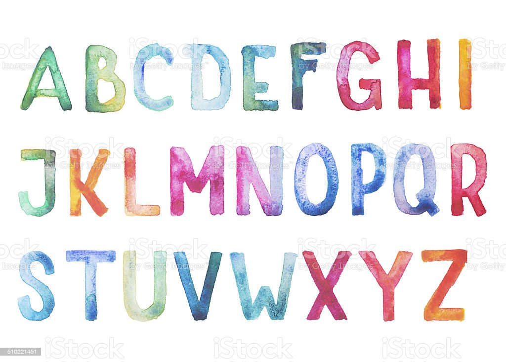 Colorful watercolor aquarelle font type handwritten hand draw doodle abc vector art illustration
