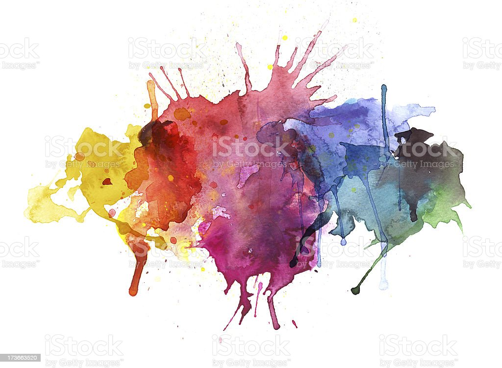 Colorful Watercolor Splashes royalty-free stock vector art
