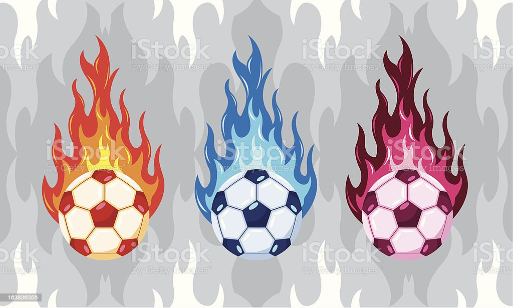 Colorfull Flaming Soccer Ball royalty-free stock vector art
