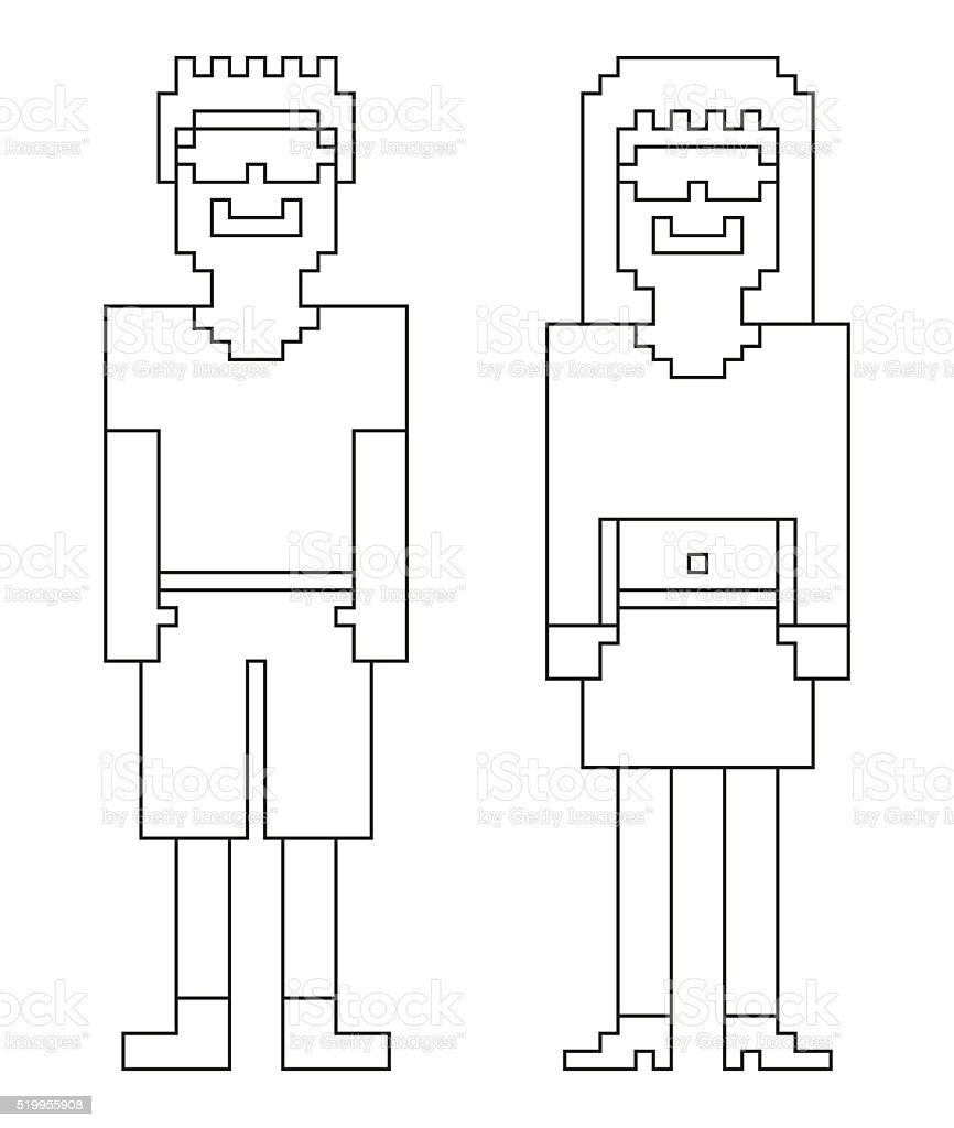 Coloring book - 8bit (pixel) humans - male and female stock photo