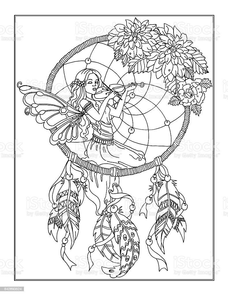 Página Para Colorear El Hada Illustracion Libre de Derechos ...