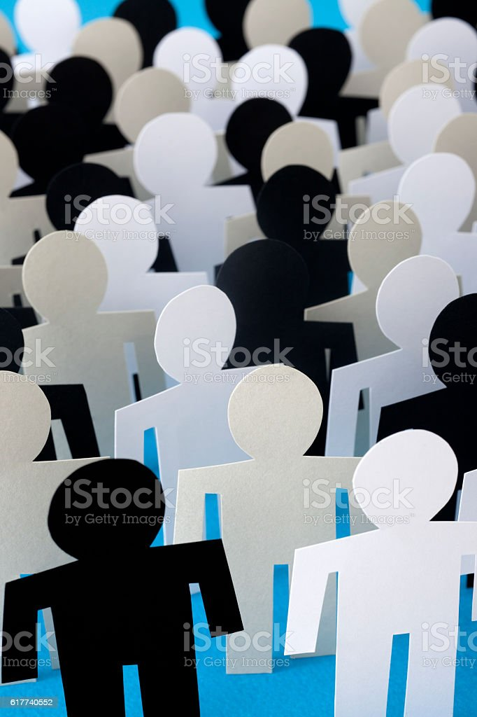 Colorless men crowd vector art illustration