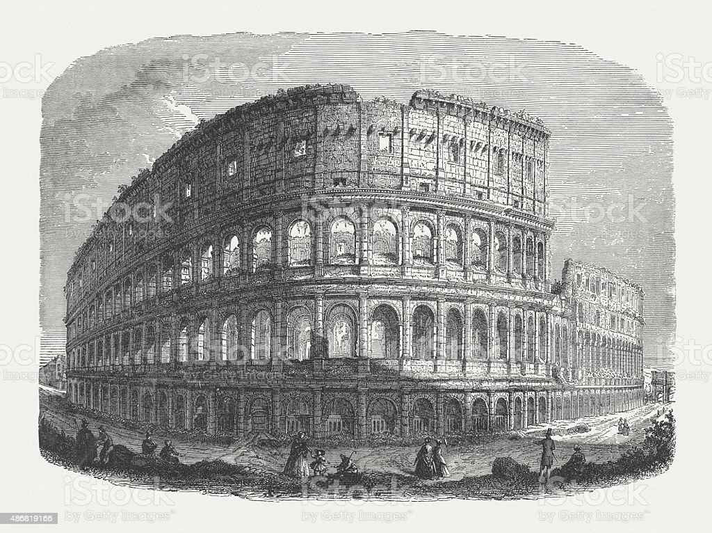 Colosseum in Rome, published in 1878 vector art illustration