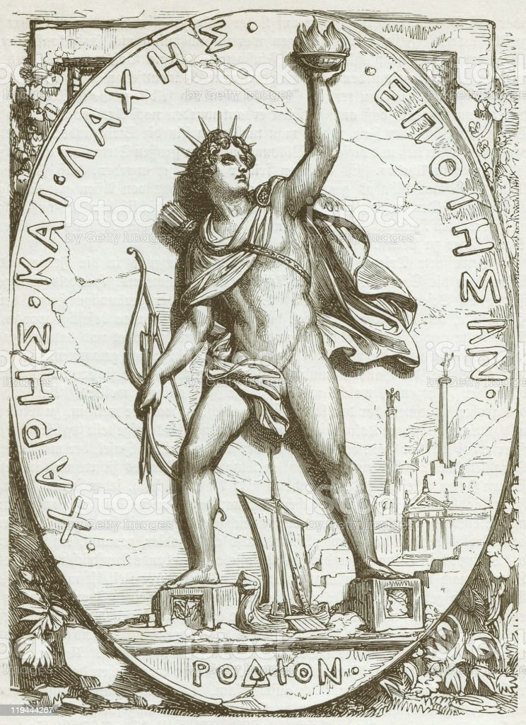 Colossus of Rhodes, wood engraving, published in 1882 royalty-free stock vector art
