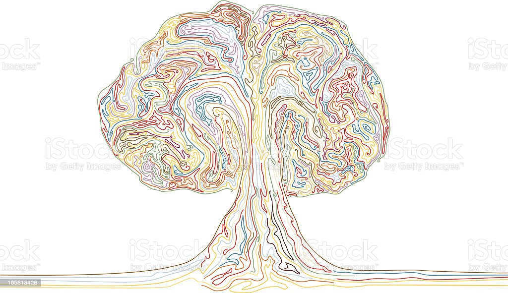 Colour Explosion or Rainbow Tree royalty-free stock vector art