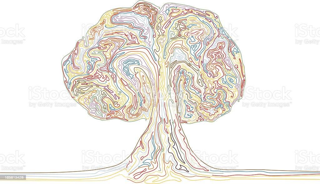 Colour Explosion or Rainbow Tree vector art illustration