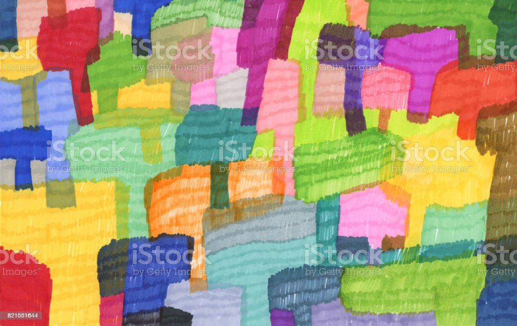 Colourful abstract pattern background with trees vector art illustration