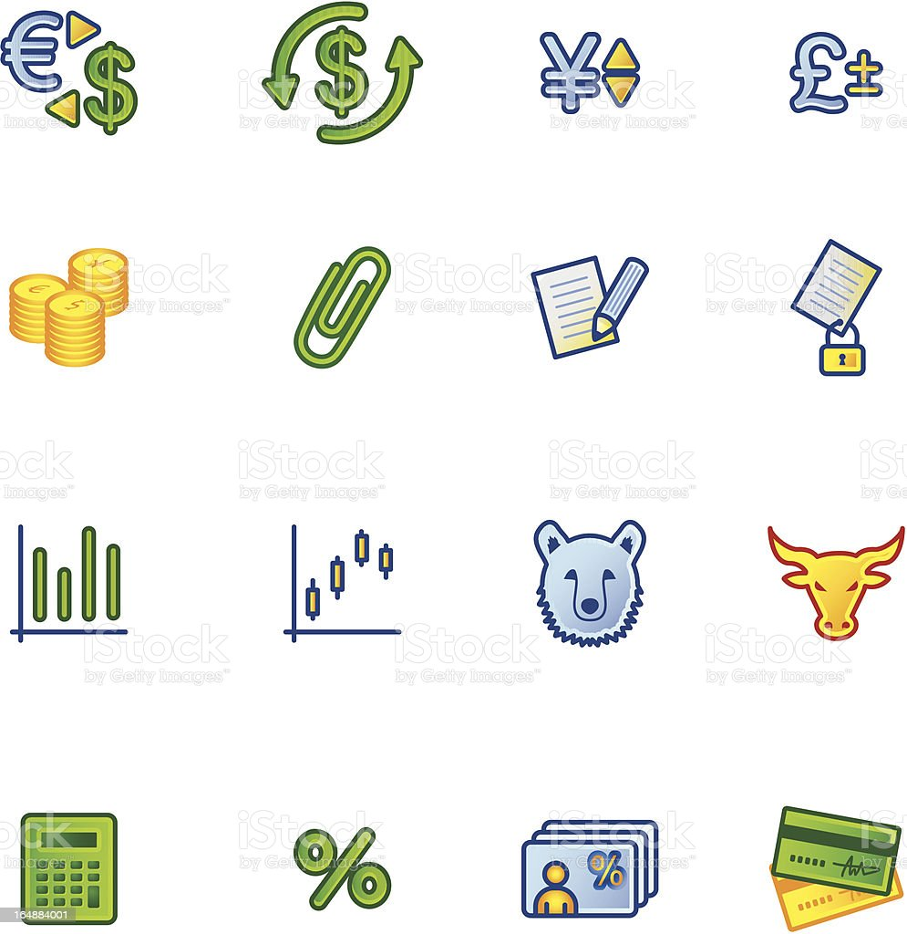 colourful finance icons royalty-free stock vector art