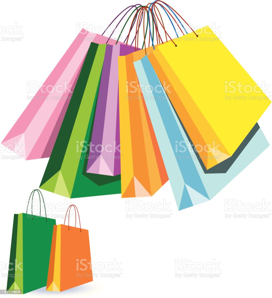 Colourful shopping bags royalty-free stock vector art