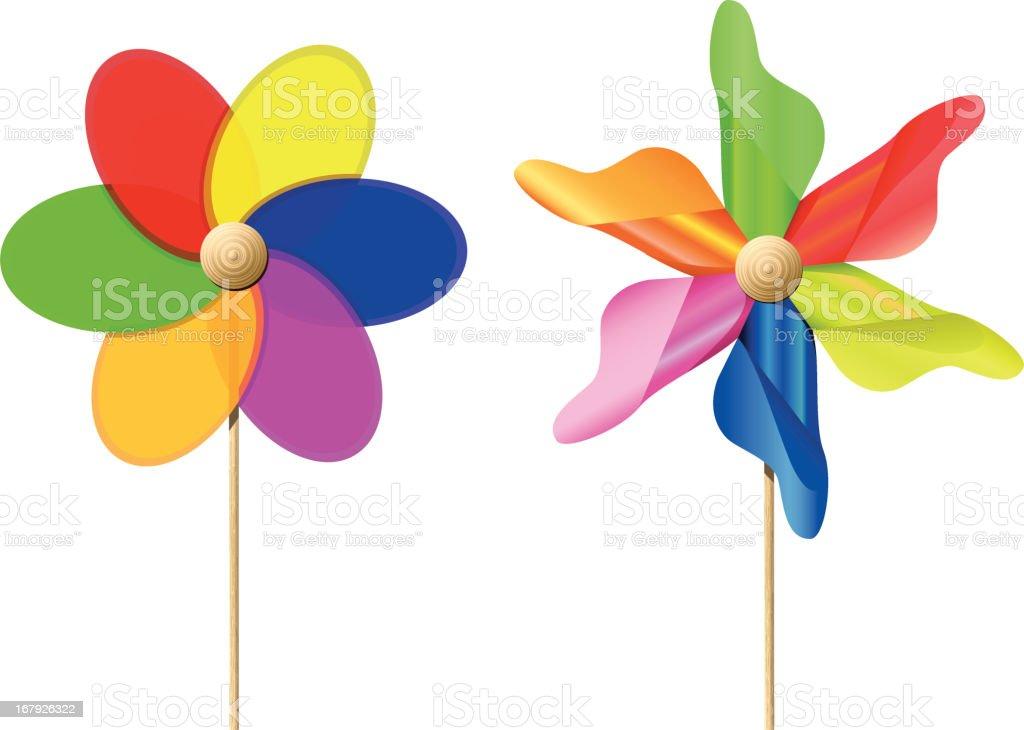 Colourful Toy Pinwheels royalty-free stock vector art