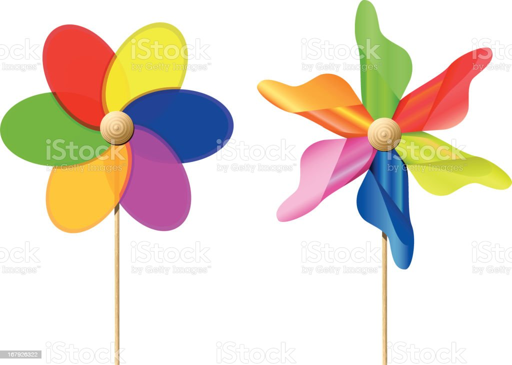 Colourful Toy Pinwheels vector art illustration