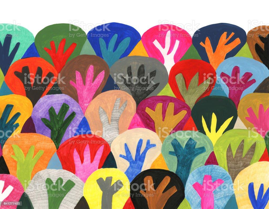 Colourful trees pattern vector art illustration