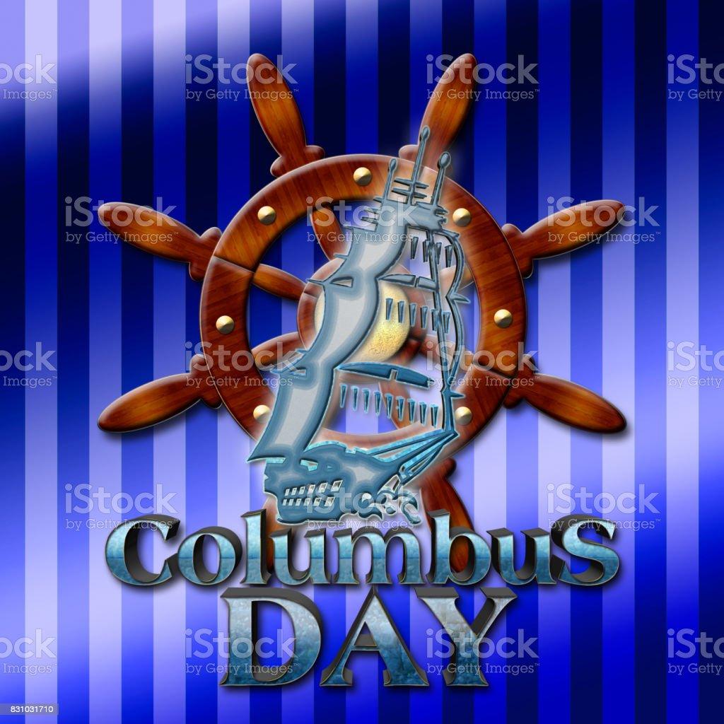 Columbus Day, 3D illustration, blue text, background in gradient vertical stripes. vector art illustration