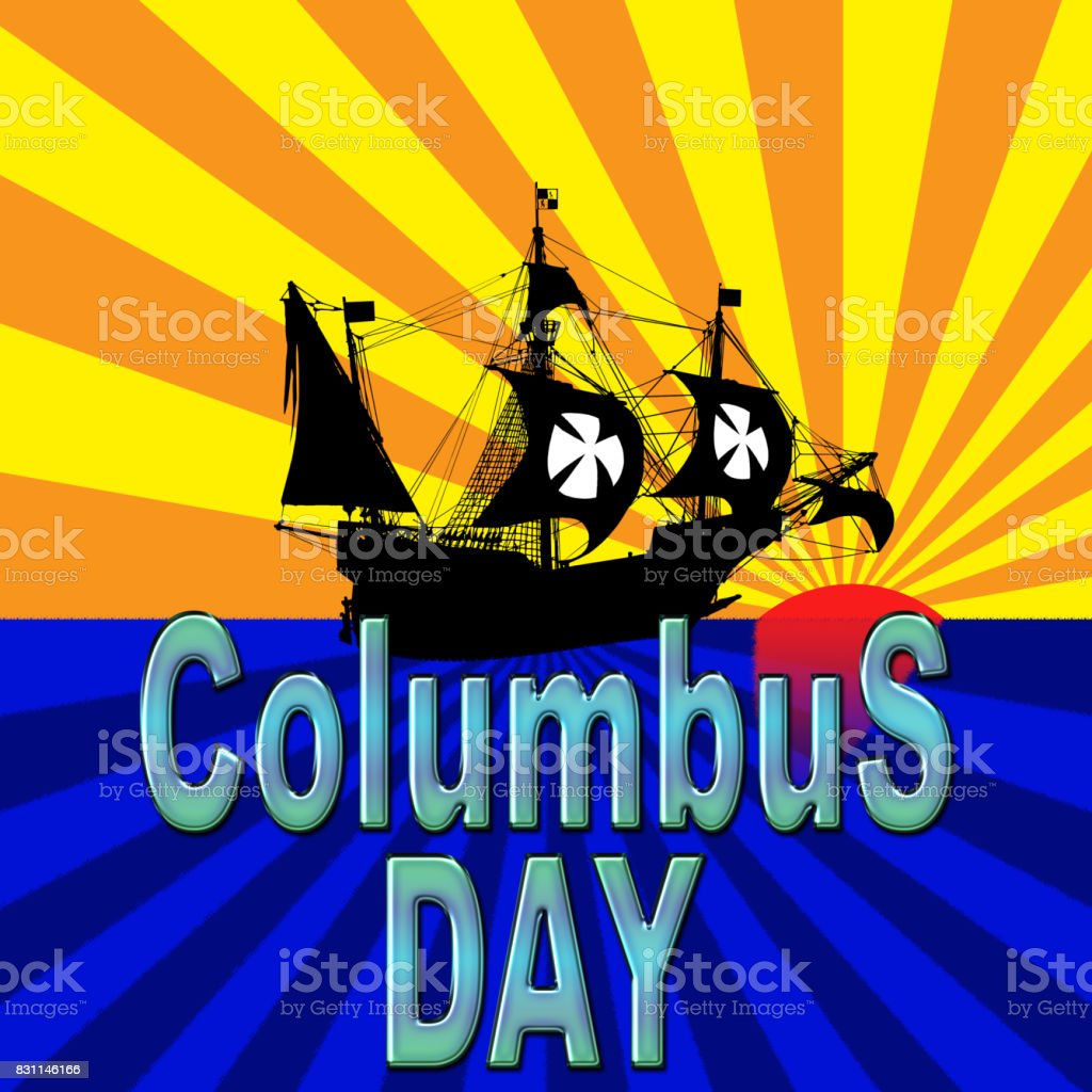 Columbus Day, 3D, Nautical scene, sun set vector art illustration