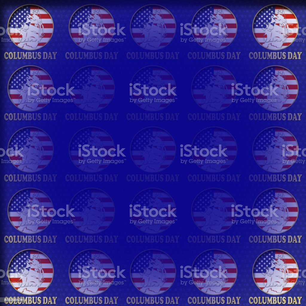 Columbus Day, Sailboat, American Flag, Holiday, 3D illustration, blue background, empty blank space, perfect background. vector art illustration