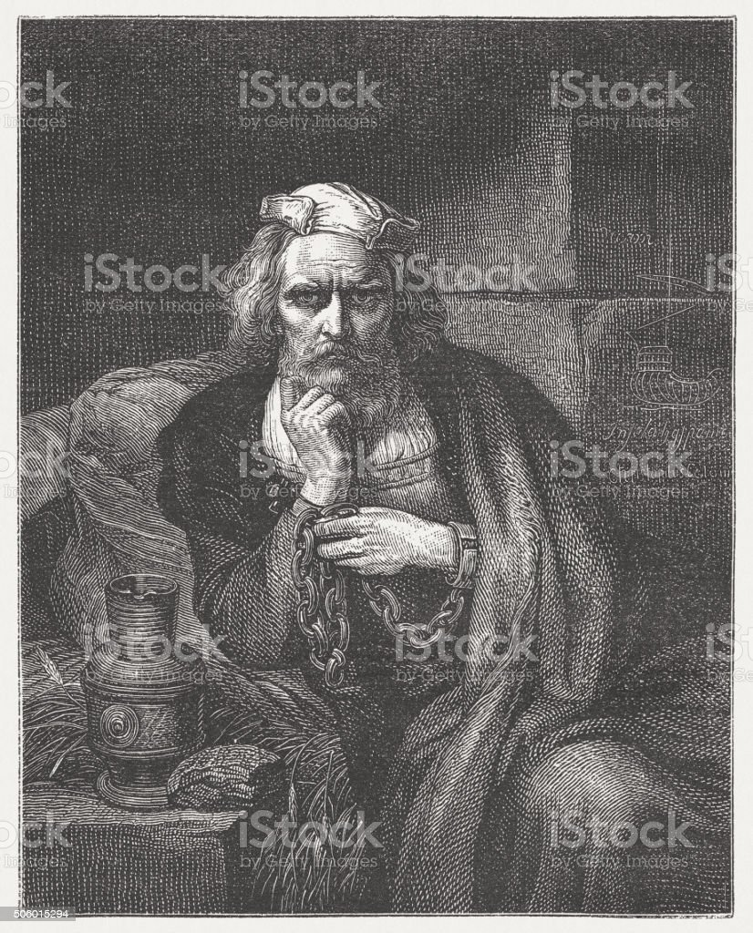 Columbus in chains, wood engraving, published c. 1882 vector art illustration
