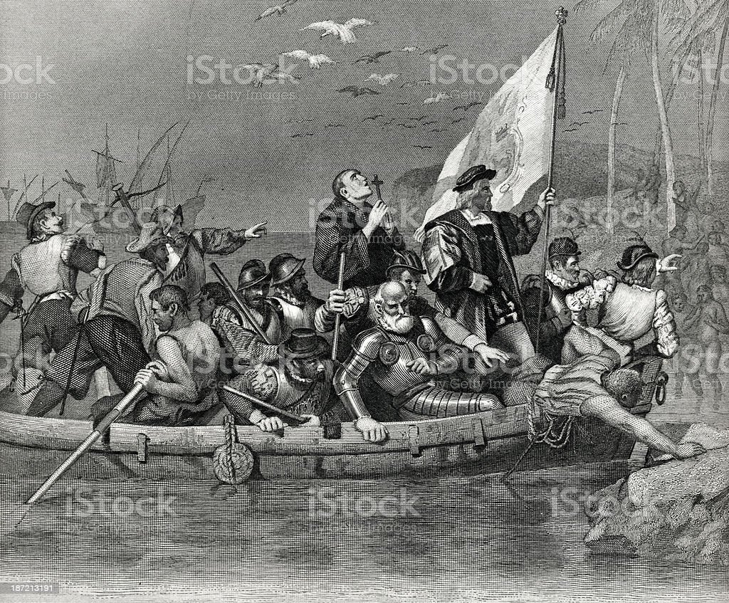 Columbus Landing In America royalty-free stock vector art